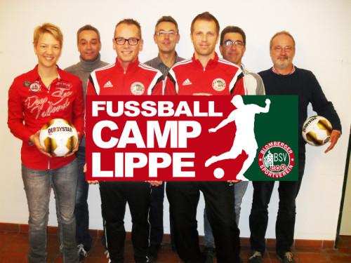 Freuen sich auf das Fußball-Camp im Sommer: Vorstand und verantwortliche Übungsleiter des Blomberger SV: Birte Wöltje, Marco v.d. Elzen, Bernd Albert, Olaf Szepat, Daniel Deppe, Karsten Krull und Uli Retzlaff