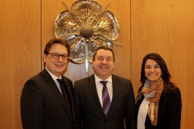 Trafen sich im Kreishaus: Stefan Schwartze, Dr. Axel Lehmann und Elvan Korkmaz