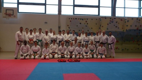 Das Bild zeigt die Teilnehmer der Shotokan-Reihe mit Referent Andre Dawson (l.).