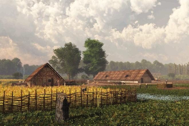 Eine Siedlung der ersten Bauern in Mitteleuropa vor 7000 Jahren. / Foto: Mikko Kriek, Simon Matzerath