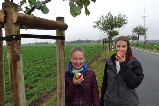Mit Freude bei der Apfelbaumpflanzung: Yuliia Kliamar und Mara-Lena Burg, beide Praktikantinnen beim Kreis Lippe (von links).
